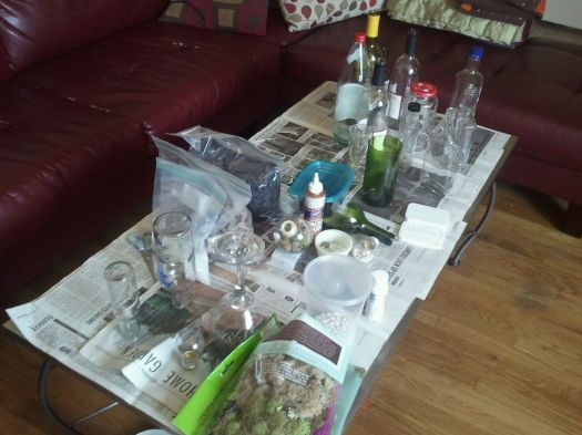 Our Weapons - LOTS of re-purposed glass, decorative stones and moss