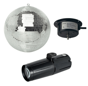 ADJ Mirror Ball Set, LED Pinspot light and stand