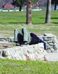 Photo/Anthony Victoria: A homeless man lays down on a rock wall at Seccombe Lake Park. A recent homeless count reported that 767 people live on the streets in San Bernardino.