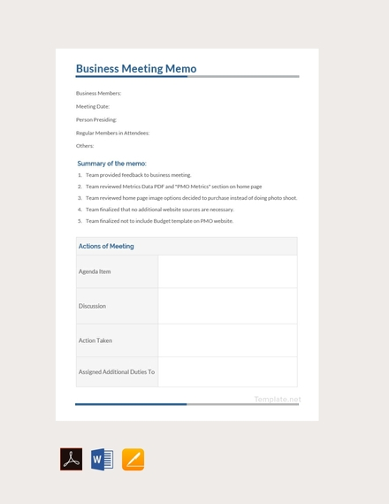Business meeting Memo Demo , Sample, PDF, Docx