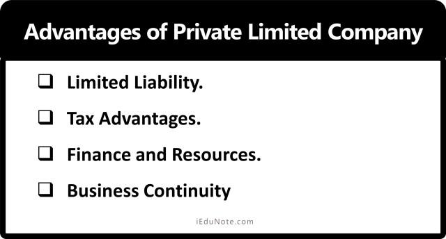 Advantage of Private Limited Company