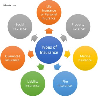 7 Types of Insurance are; Life Insurance or Personal Insurance, Property Insurance, Marine Insurance, Fire Insurance, Liability Insurance, Guarantee Insurance.