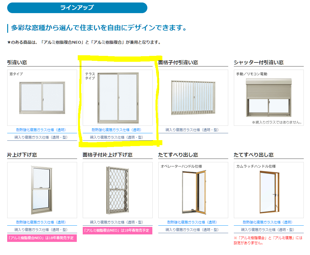 YKK防火Gシリーズラインナップ