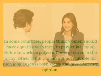 In some countries, people think women should have equality with men