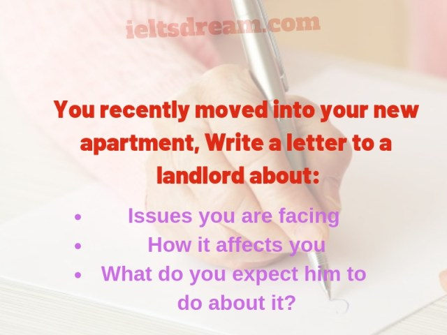 You recently moved into your new apartment, Write a letter to a landlord