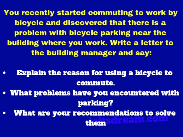 You recently started commuting to work by bicycle and discovered that there