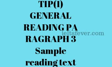 TIP(1) GENERAL READING PARAGRAPH 3 Sample reading text