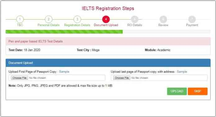 Step 5: Upload copies of your Passport Online IELTS Registration Process and Test Dates