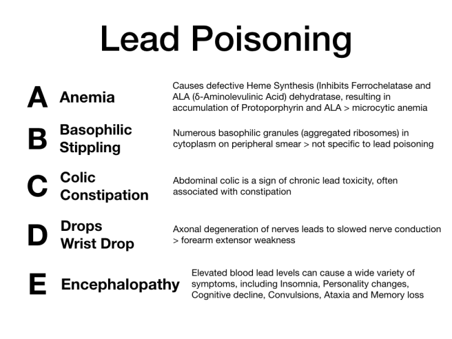 Figure 5 - Features of lead poisoning
