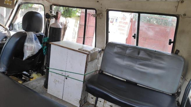 Interior of ambulance at Beltar PHC