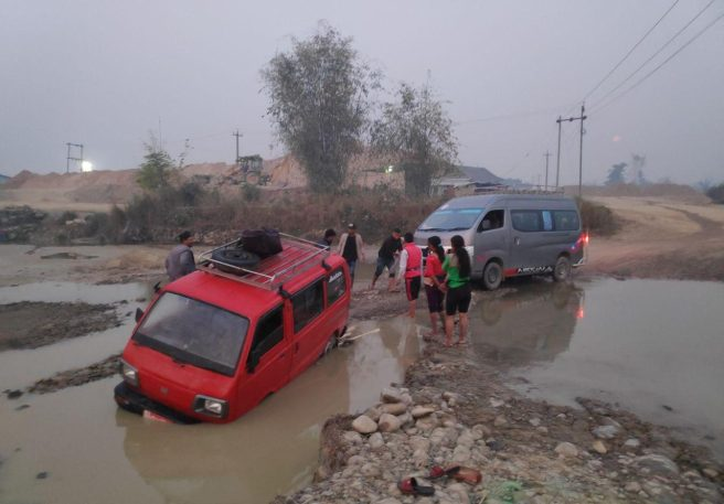 Vehicles submerged during rainy season