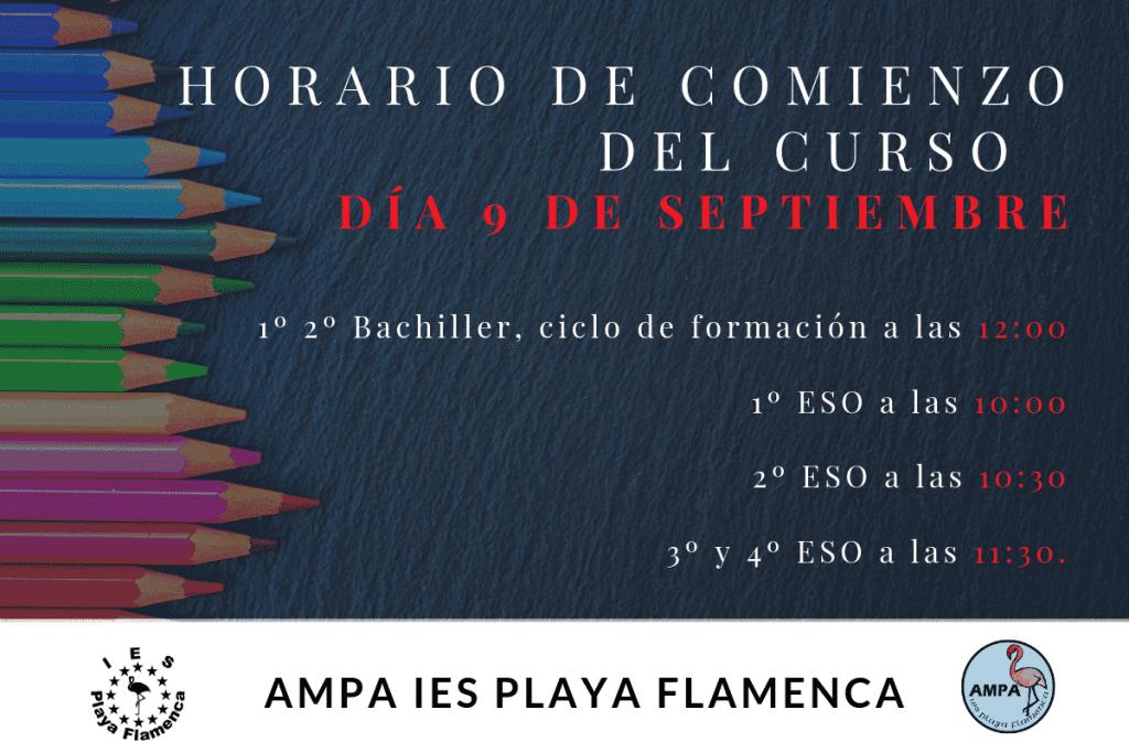 Horarios de comienzo del curso 2019-20