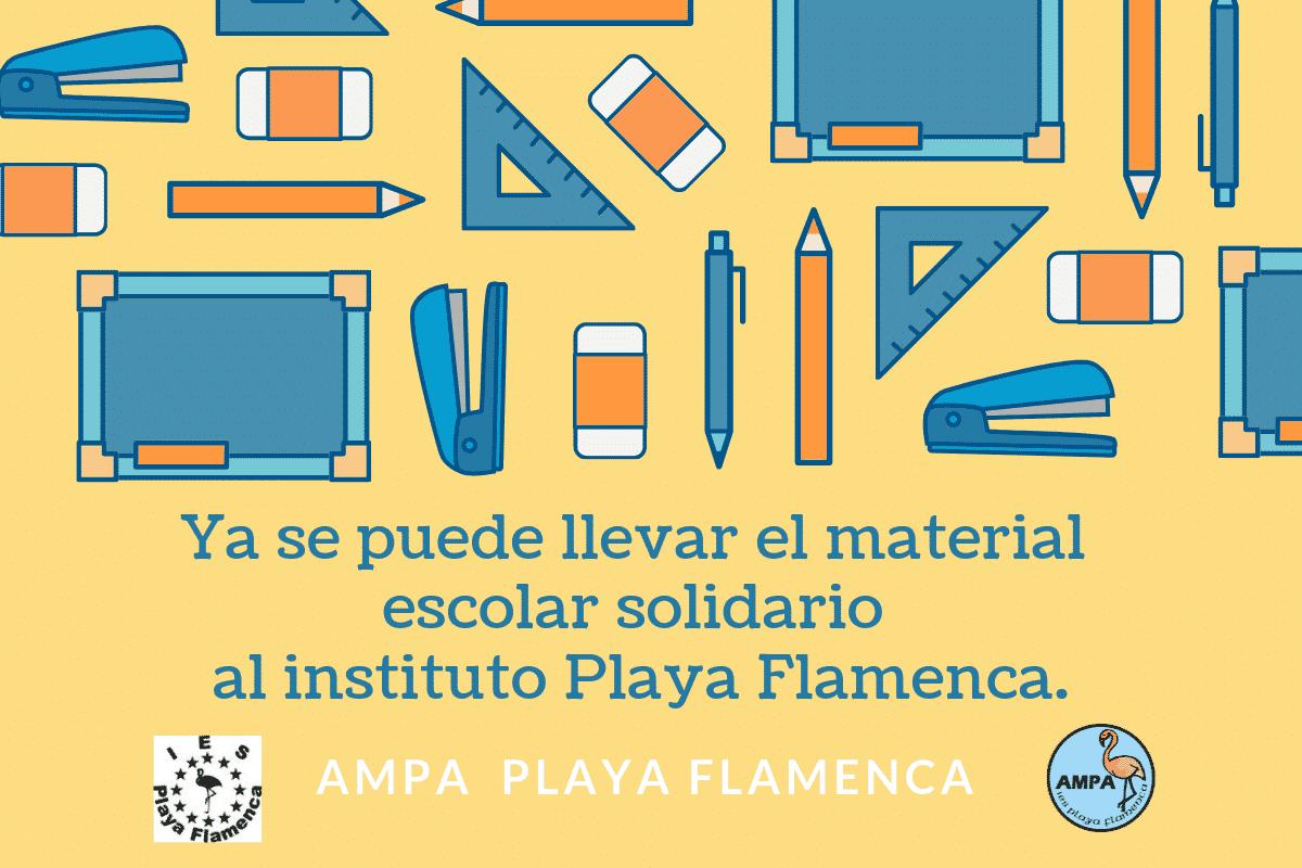 Ya se puede llevar el material  escolar solidario  al instituto Playa Flamenca.