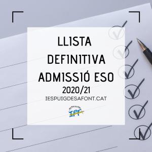 Llista definitiva admissió ESO