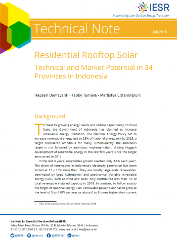 Residential Rooftop Solar Potential In 34 Provinces In Indonesia Iesr
