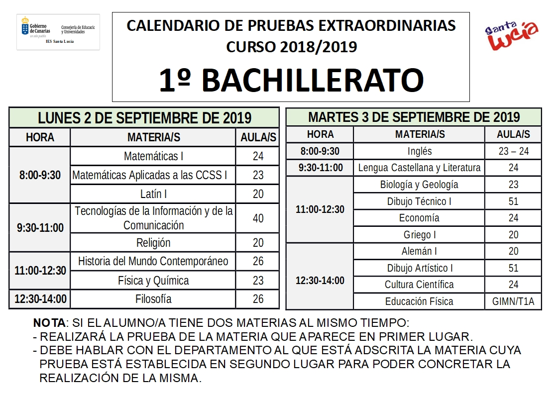 Santa Lucia Calendario.Calendario De Examenes Septiembre 2019 Eso Y Bachillerato