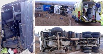 Перевернулся грузовик на ротонде нового отрезка дороги Fonsalía