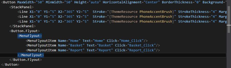 XAML Menu code