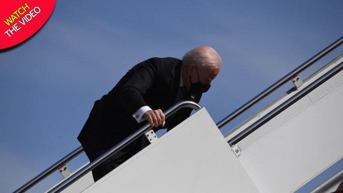 Breaking: Joe Biden stumbles 3 times walking up Air Force One