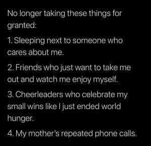 Diane Russet Compiles List Of Things She No Longer Takes For Granted.