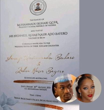 See The Wedding Invitation Letter Of President Buhari's Son, Yusuf