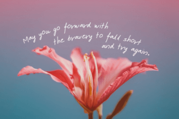 May you go forward with the bravery to fall short and try again.