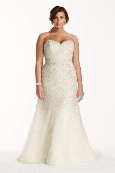 busty wedding dress - Galina Signature Strapless Crystal Beaded Tulle Fit and Flare Gown Style