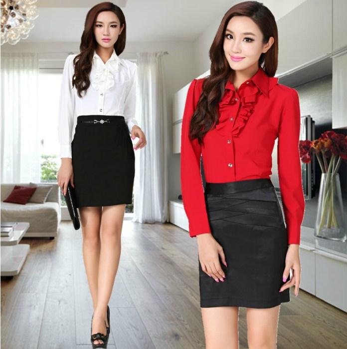 Professional-Business-Women-Work-Wear-Shirts-Formal-Autumn-Spring-Women-s-Blouses-Red-White-Work-Wear