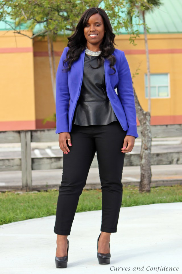 faux-leather-peplum-worn-with-a-blazer-how-to-dress-for-work-trendy-office-outfits-curvy-chic-office-outfits-how-to-dress-for-work