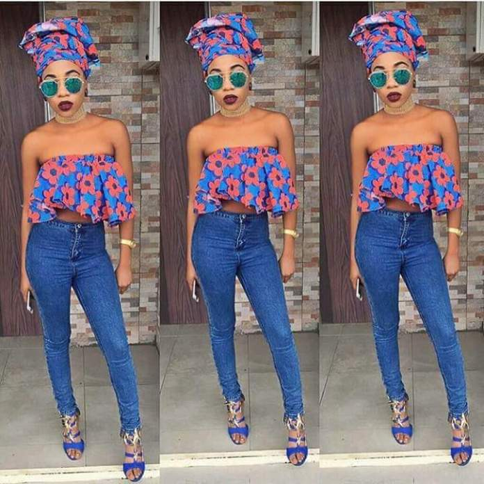 Stylish and Casual Ankara top and jeans