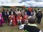 Community leaders in Nyeri County presented a traditional shawl (shuka) and a ceremonial fly-whisk to Scott Angle, Ambassador Vincent O'Neill, and the Ambassador's wife, Bróna Ní Mhuirí. The area chief (traditional governing authority) is standing behind Ambassador O'Neill.