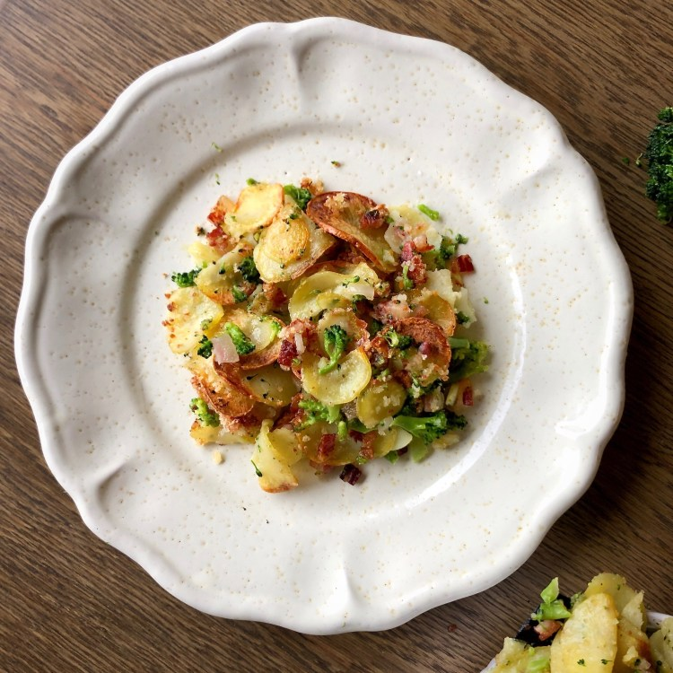 Gratin di patate e broccoli al bacon