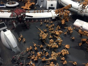 Imperial Knight attacking against T'au forces