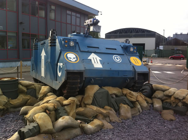 Ultramarines Life Size Rhino outside Warhammer World