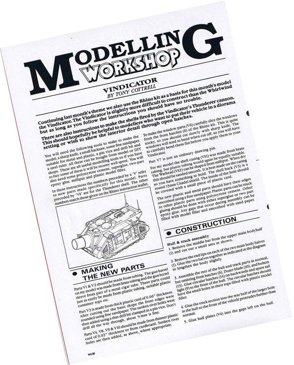 Modelling Workshop Page for the Space Marine Vindicator