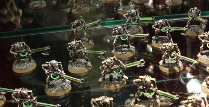 Necron Warriors in the display cabinets at Warhammer World.
