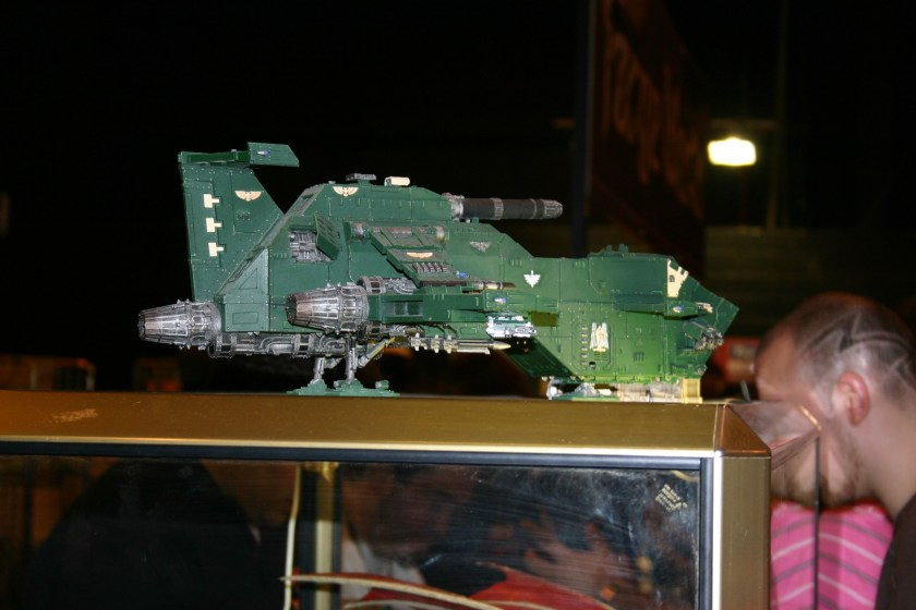 "Forgeworld Space Marine Thunderhawk Gunship. This model is one of the Forgeworld Display models. When you see it for ""real"" you realise how large the model is. I am not a great fan of the model, however I do quite like the Thunderhawk Transporter."