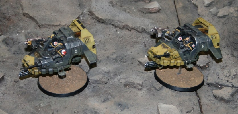 Red Scorpions' Land Speeders from a Forge World display.