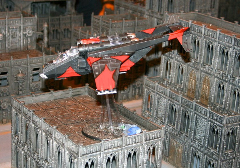 Imperial Navy Valkyrie on the Warhammer World's Mega-Gaming Table from GamesDay 2009.