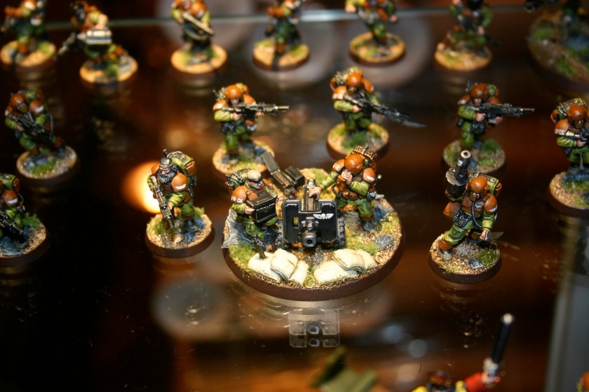 Heavy Bolter team which is part of Owen Rees' Imperial Guard - The 374th Tahnelian Airborne, in the White Dwarf display cabinets at GamesDay 2006.