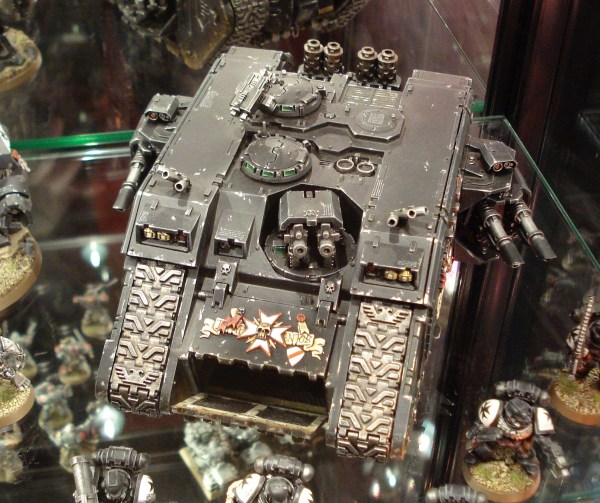Black Templars Land Raider on display at Warhammer World.