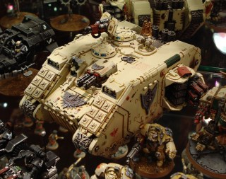 Dark Angels Death Wing Land Raider Crusader on display at Warhammer World.