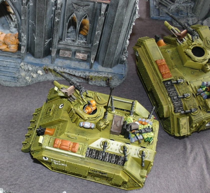 One of Simon's Chimera transports. Note that he has used the Imperial Guard extra armour sprue to add track guards, stowage, a heavy stubber and a few other bits and pieces.