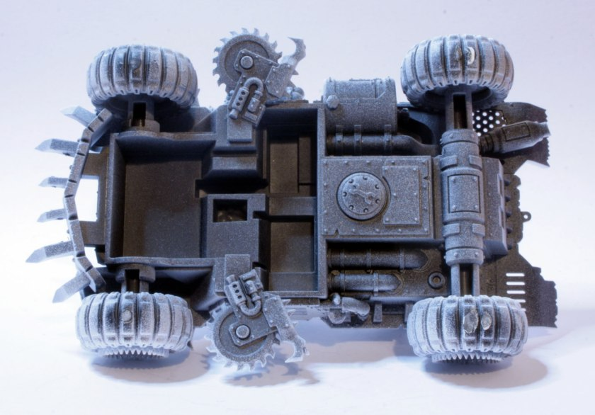 I gave the underneath of the model a black undercoat followed by a white undercoat.