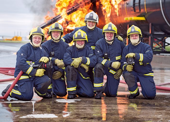 Some of the specialist firefighters based at BAE Systems' site at Warton.