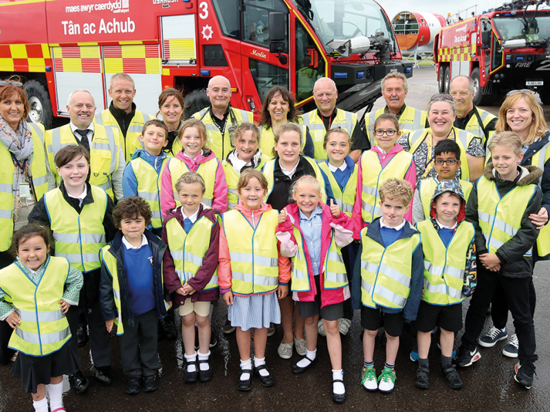 Teachers and pupils from Rhws Primary School.