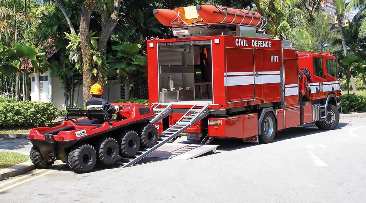 ARGOs are used by first responders around the world, as this civil defense organization demonstrates in Singapore.