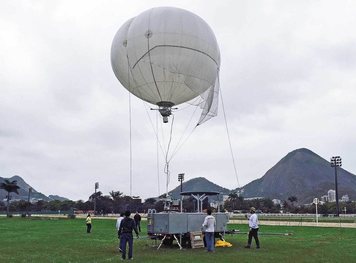 Simera WAMI sensor on aerostat (tethered balloon/blimp).