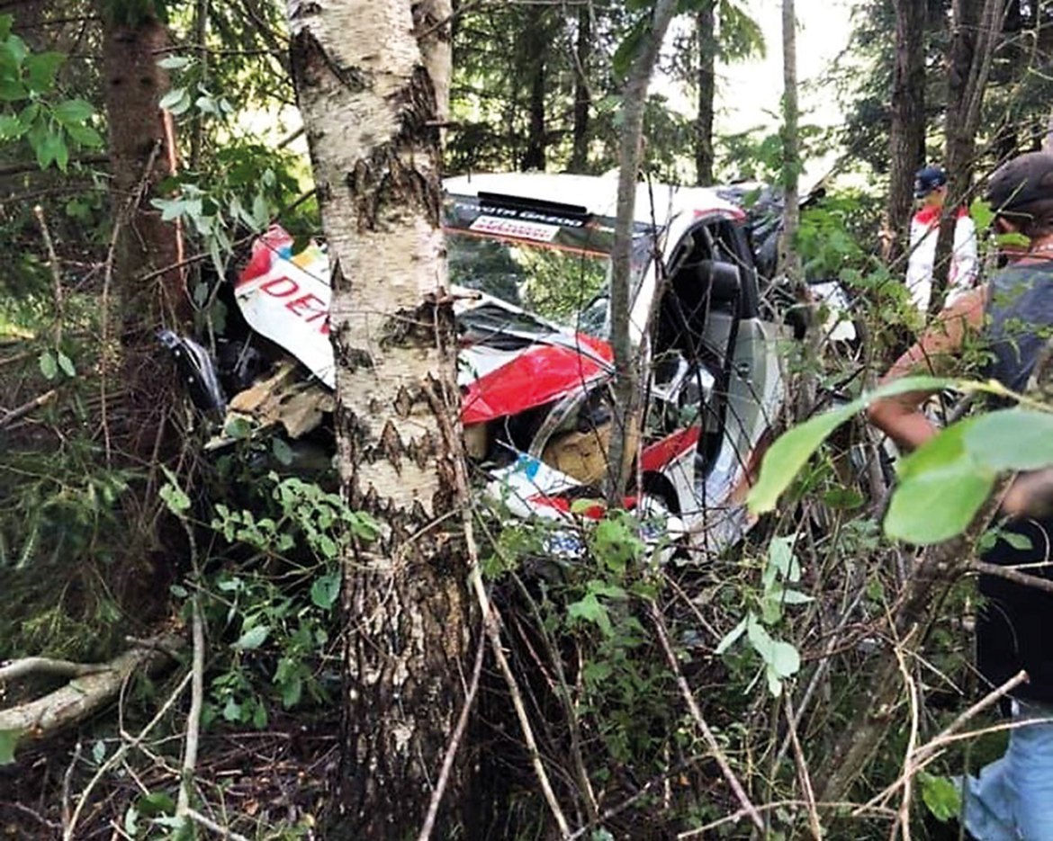 WRC Rally car crash. These vehicles soon will have a hybrid drivetrain in 2022.