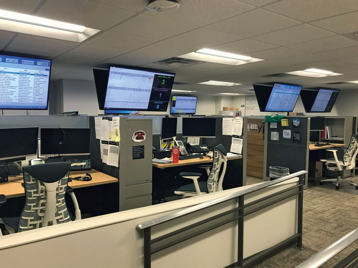A communications centre that receives and transmits alarm signals may be staffed with several people and require multiple layers of technology.